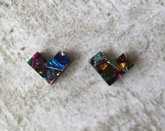 Kaleidoscope Mini Studs. Can be worn as either hearts or chevrons.