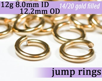 12g 8.0mm ID 12.2mm OD gold filled jump rings -- 12g8.00 goldfill jumprings 14k goldfilled