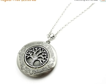 MOTHERS DAY SALE Forest Locket - Tree of Life Locket Necklace - Woodland Picture locket - Silver Locket Pendant - Picture Locket - Gift Idea