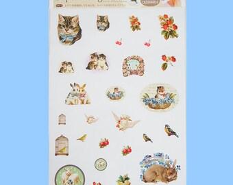 Cute Vintage Style Animal Design Film 21cmX14.8cm UV Resin Craft Transfer Seal Cat Rabbit Sheep Bird Strawberry Fairytale Japan