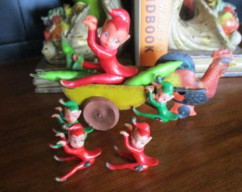 5 Rubber Pixies / Elves that are climbers / hangers.  Each vintage little elf pixie - is very detailed and hand painted.
