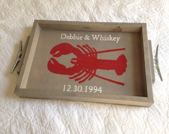 Personalized Wooden Tray - Lobster wooden tray, personalized lobster, personalized tray, nautical tray, personalized wedding gift