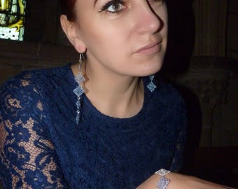 Fashionable Light Blue & Silver Wire Crochet Bracelet