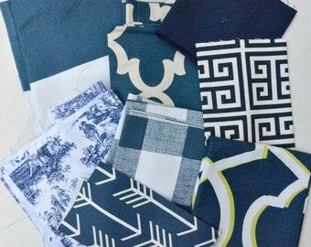 Navy Blue Fabric Scraps Pack, Cabana, Fynn, Towers, Jamestown, Buffalo Check, Morrow, Arrow, Premier Prints Home Decor Remnant Cut Bundle