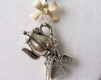 Tea Party Necklace with Hinged Teapot