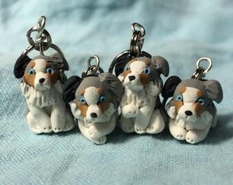 Miniature Dog, Tiny Dog, Australian Shepherd, Stitch Markers, Dog Lover Gift, Knitting Notions, Crochet Notions, Knitting Accessories, Set 4
