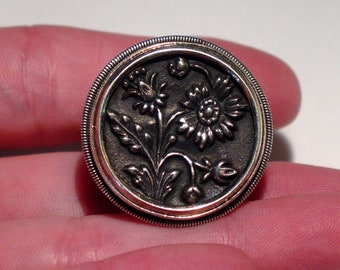 Large MARS and VALENTINE Sterling Silver Repousse Floral Statement Ring