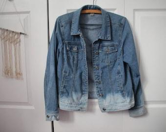 Tropical Denim Jacket- bleached/dipdye/upcycled- M