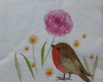2 bird and flower (306) paper napkins