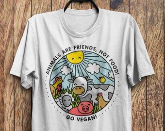 Animals are Friends Shirt, Vegan Shirt, Vegetarian T-Shirt, Animal Lover Gift, Vegan Gift, Vegan Clothing, Friends Not Food Shirt M16