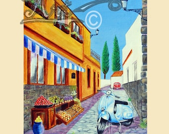 Scooter art print, Vespa on the street  in a Spanish street.