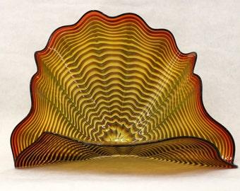 Beautiful Hand Blown Glass Art Platter Pedestal Shell Style Platter tangerine ONEIL 7471