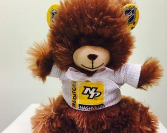 Predators inspired teddy bear, Preds toy, hockey toy, hockey stuffed animal, gifts, Nashville Predators, sports team bear, bear