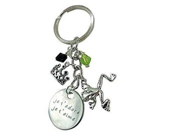 Art Attack Silvertone Je T'aime Et Je T'adore French I Love You Frog Crown Princess Queen Keychain