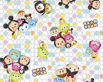 "Disney Tsum Tsum Fabric: Mickey Mouse and friends Packed Characters White  100% cotton Fabric by the yard 36""x43"" (SC506)"