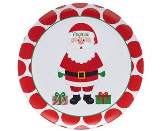Santa Plate Personalized - Melamine Plate - Santa Christmas Plate - Cookies for Santa - Custom - Polka Dot Red & White Personalized Plate