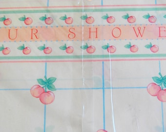 Vintage Peach Wedding Gift Wrap, Vintage Shower Wrapping Paper with Card, New Hallmark Gift Wrap, Two Sheets 26X20 inches, No Tape Needed