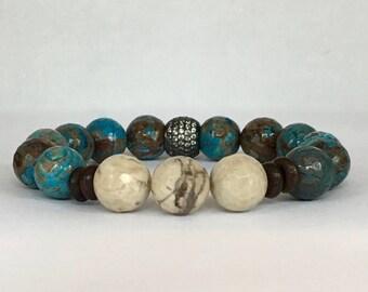 Women's Blue Sky Calsilica Jasper bracelet with mixed beads