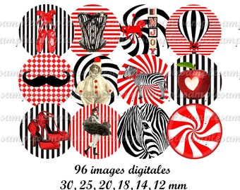 "Digital collage sheet circles, Digital images ""Red and Black"" , One inch  circle, digital rounds, digital bottle cap,instant download"