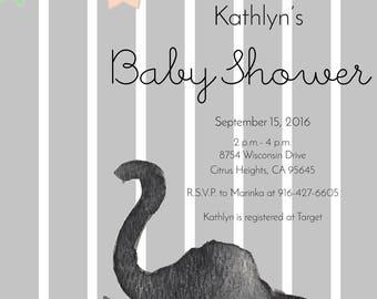 Safari Baby Shower  — Elephant Baby Shower Invitation