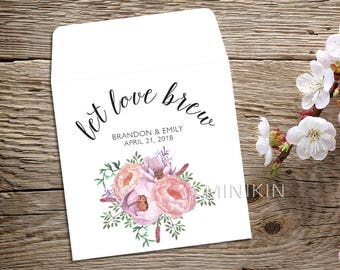 Tea Favor, Wedding Tea Favor, Wedding Favor, Tea Party Favors, Bridal Shower Tea Party, Custom Tea Bags, Let Love Brew, Tea Party x 25
