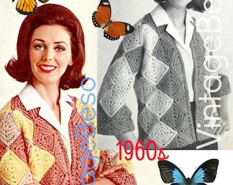 EASY Jacket CROCHET Pattern • Squares Jacket Crochet Pattern Instant Download PdF Pattern Vintage 1960s Crochet Pattern Granny Square Style