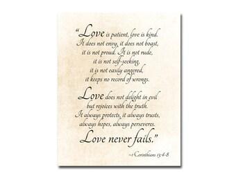 Love is Patient, 1 Corinthians 13 Love Never Fails Bible Verse Family Quote Inspirational Quote Nursery Decor Literary Fine Art Print