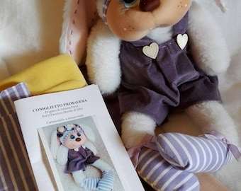 Plush Bunny in kit materials and instructions step by step and Cartmodello to real size ideal to give or decorate the room