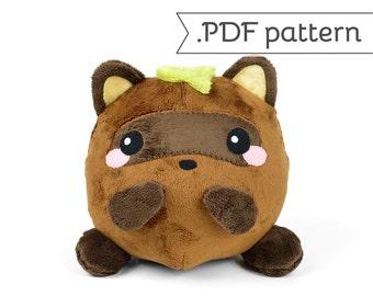 Tanuki (Japanese Raccoon Dog) Sewing .pdf Pattern Plush Stuffed Animal