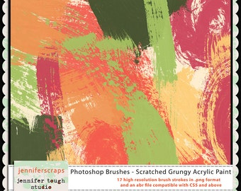 Instant Download - Photoshop Brushes - Scratched Grungy Acrylic Paint - 17 brush files and digital stamps.