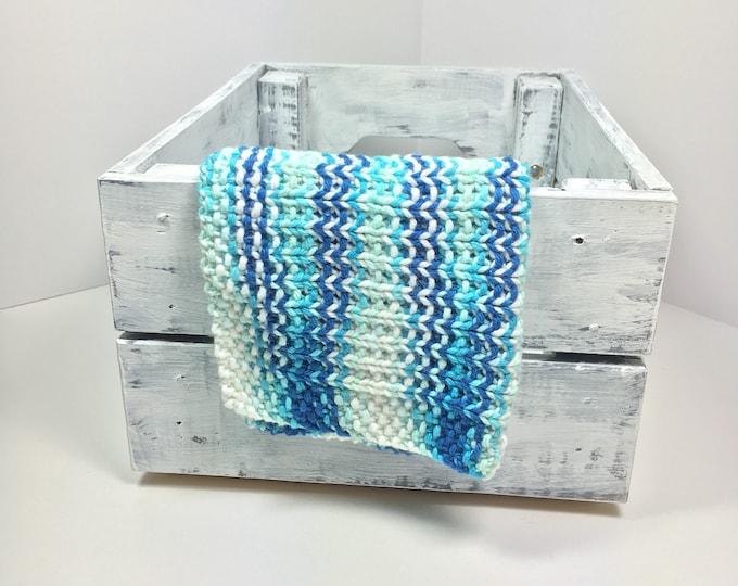 knit dishcloth / knit washcloth / blue dishcloth / handmade gifts / gifts under 10 / natural skincare / eco friendly gifts / hostess gift
