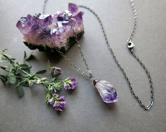 Raw Amethyst Necklace - February Birthstone Necklace - Raw Crystal Necklace - Raw Amethyst Pendant - Raw Gemstone Necklace - Quartz Necklace