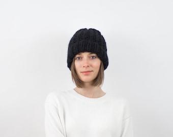 Chunky Knit Hat, Fold-Over Brim Beanie, Wool Blend | THE PORTLAND in Black