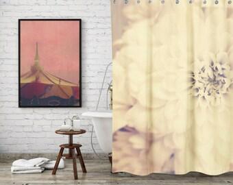 Shabby Chic Cream Flower Shower Curtain for Feminine Bathroom Decor