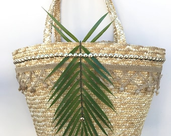 Handmade Unique Straw Coconut Leaf Bag, Boho, Summer, Beach, Tropical, Festival, Nature, Sexy, Africian ONE OF A KIND (Living Lush Tote)