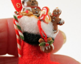 12th Scale Handmade Miniature Filled Santa Stocking