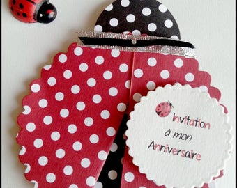 Set of 5 invitation cards birthday Ladybug red and black