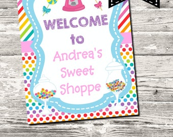 Sweet Shoppe Candy Party Welcome Sign Printable Digital