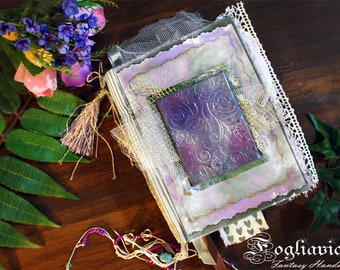 Purple JUNK JOURNAL Enchanted blank book Romantic lace gift for her fairy Garden Violet diary magic unique design Write Love Scrapbook Ooak