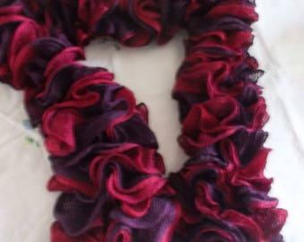 Variation of Burgundy and fuchsia NET scarf