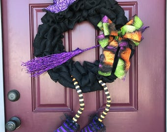 Burlap Witch Wreath, Witch Wreath, Halloween Wreath, Front Door Wreath, Witch, Black Burlap, Front Door Decor, Halloween Witch, Purple