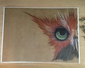 Archer- the funny copper owl print woodland animal owl art nursery decor nursery art