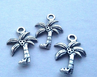 SALE - 9 Detailed Silver Palm Tree Pendants or Charms, antiqued, Beach jewelry, Beach Charm