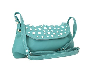 Turquoise leather bag - crossbody leather bag in turquoise / Bolso de cuero turquesa - rock&funk collection