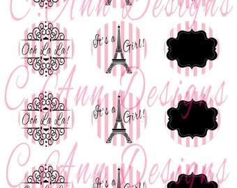 Paris Themed Cupcake Toppers 2 inches