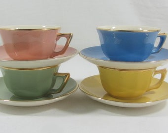 4 French vintage cups and saucers, Harlequin cups, fiesta cups, multi coloured cups, Villeroy & Boch, tea cups, coffee cups, French vintage.