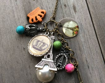 Paris Necklace, French, France, crown, Eiffel Tower, boho jewelry