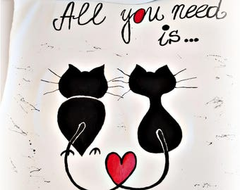 All you need is.. - hand-painted t-shirt with cats