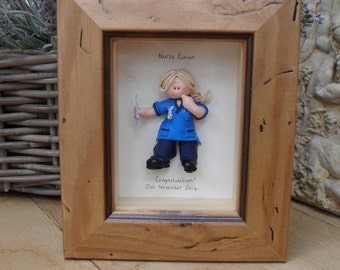 PERSONALISED NURSE GIFT, Framed Polymer Clay Characters,  Retirement, Promotion, Birthdays
