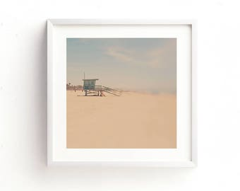 beach printable, lifeguard station photograph, Santa Monica picture, beach download, summer decor, baby nursery printable, girls room art